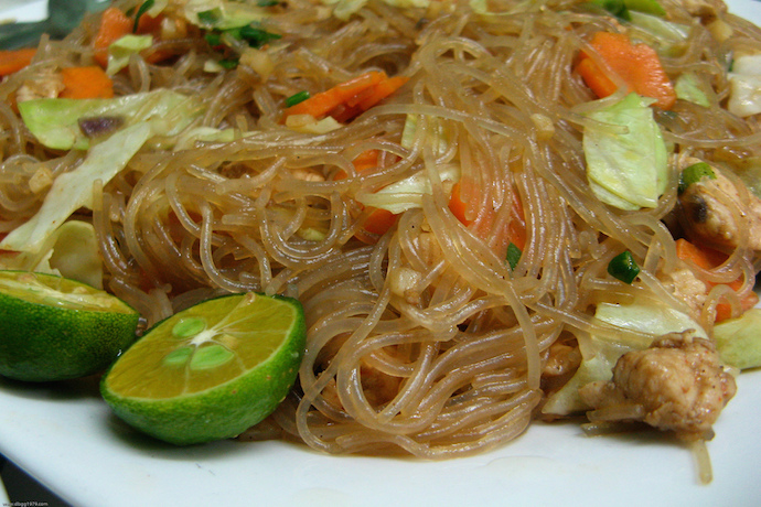 Pancit is a traditional Filipino rice noodle always served on birthdays because noodles represent long life for the birthday celebrant. | Photo Credit: dbgg1979 on Flickr