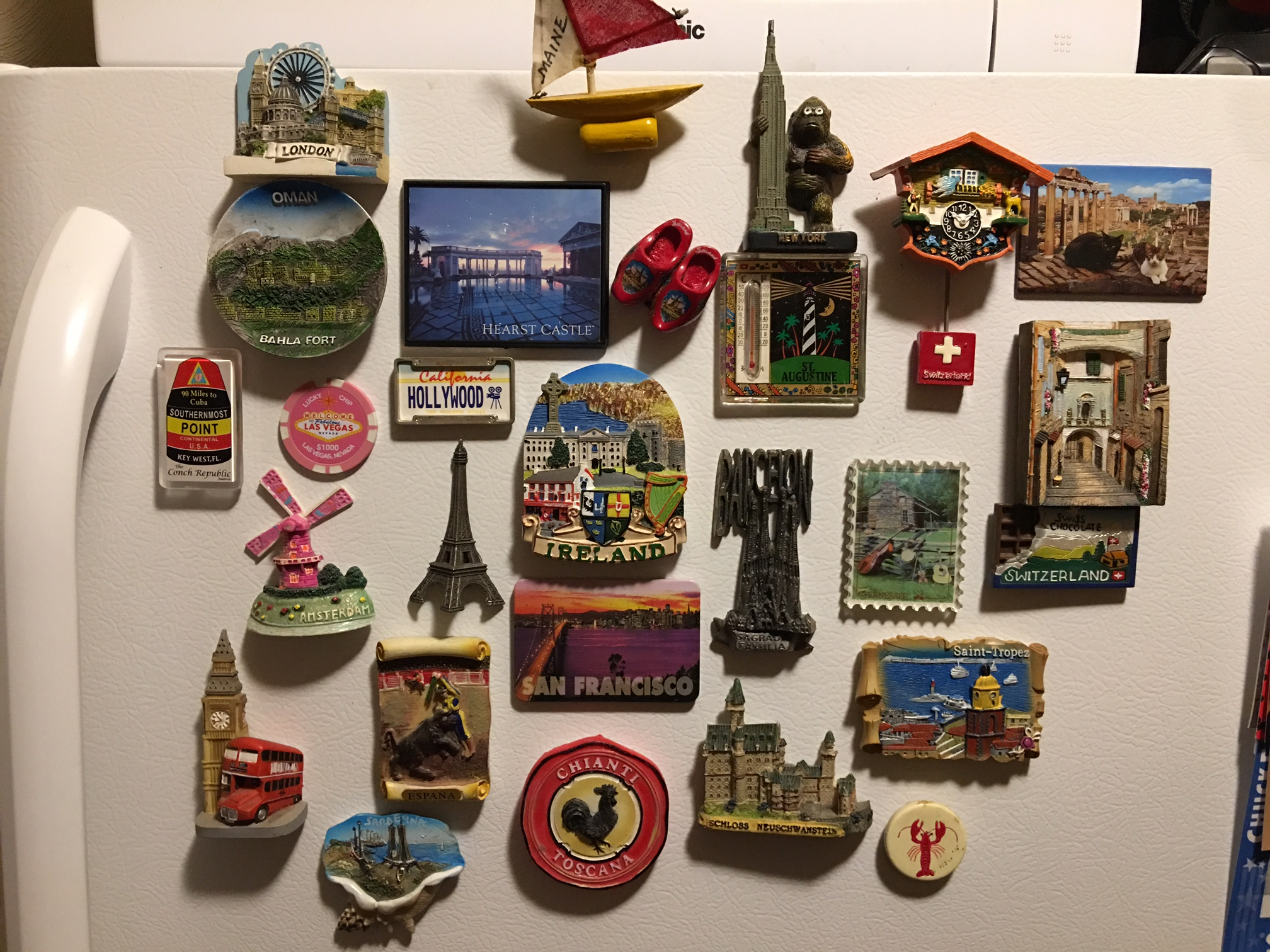 Ever since I was little, my mom has collected magnets from places we've been to. I'd say the collection is fairly extensive.