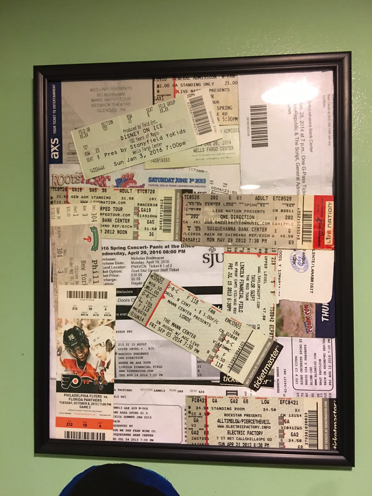 Live shows are a blast. I've been collecting these since I was 14, from concerts, sports games and even Comic Con.