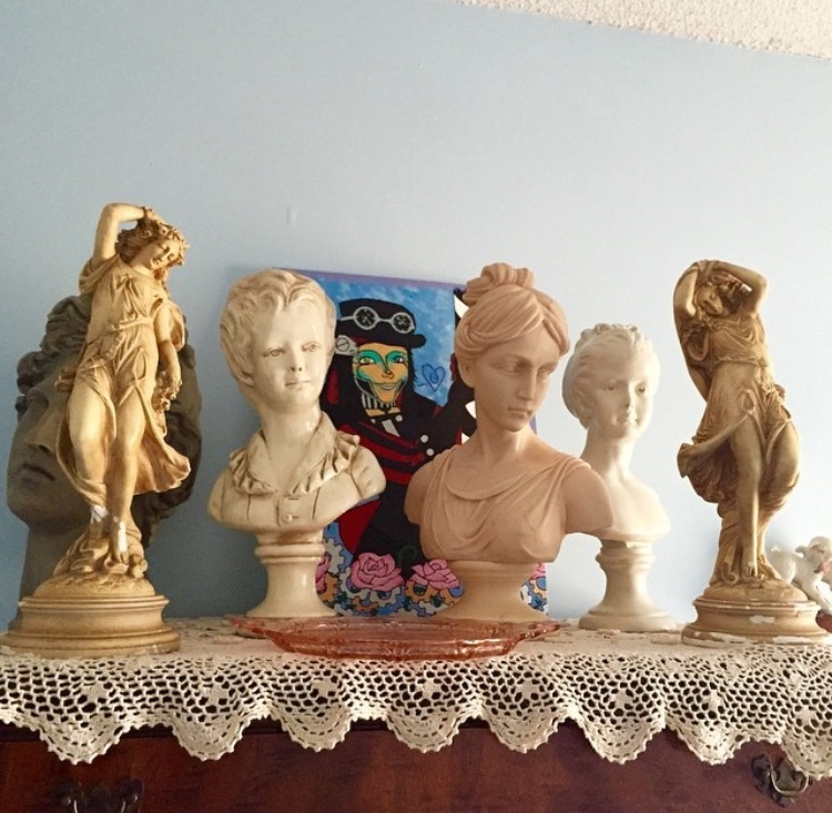 My close friend from home has a strong affinity for statues. She shops for them everywhere! These are only part of her collection, but needless to say, her room is reminiscent of the Renaissance!